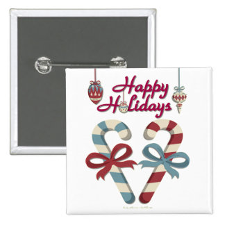 Happy Holidays Candy Cane Heart Button