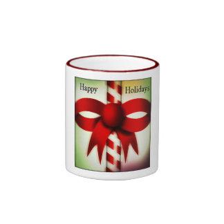 Happy Holidays Candy Cane Coffee Mugs