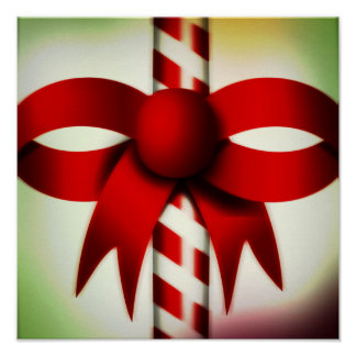 Happy Holidays Candy Cane Poster