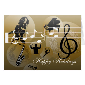 Happy Holidays Card love Music Gold