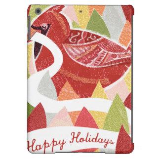 Happy Holidays Cardinal Bird on Christmas Leaves iPad Air Cover