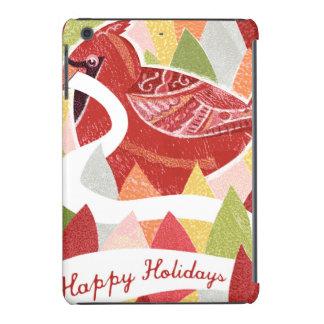 Happy Holidays Cardinal Bird on Christmas Leaves iPad Mini Retina Cases