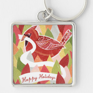 Happy Holidays Cardinal Bird on Christmas Leaves Key Chains