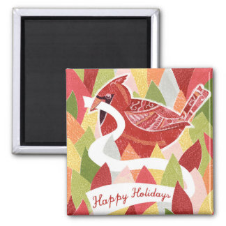 Happy Holidays Cardinal Bird on Christmas Leaves Magnet