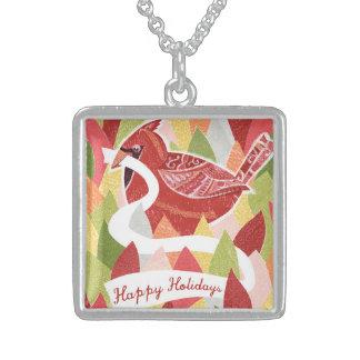 Happy Holidays Cardinal Bird on Christmas Leaves Pendants