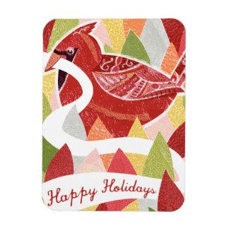 Happy Holidays Cardinal Bird on Christmas Leaves Rectangular Magnet