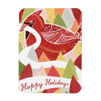 Happy Holidays Cardinal Bird on Christmas Leaves Rectangle Magnet