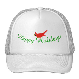 Happy Holidays Cardinal Cap Trucker Hats