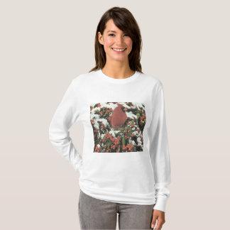Happy Holidays Cardinal Long Sleeve Women's Shirt