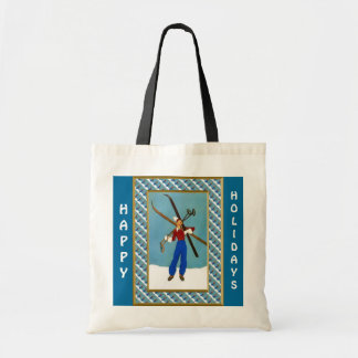 Happy Holidays  Carrying the skis Budget Tote Bag