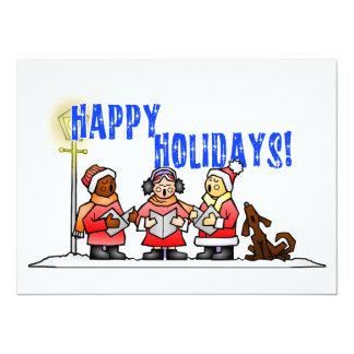 Happy Holidays - Cartoon Carolers Singing 14 Cm X 19 Cm Invitation Card