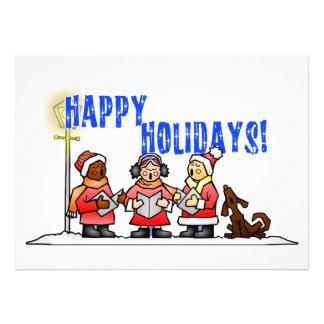 Happy Holidays - Cartoon Carolers Singing Invitation