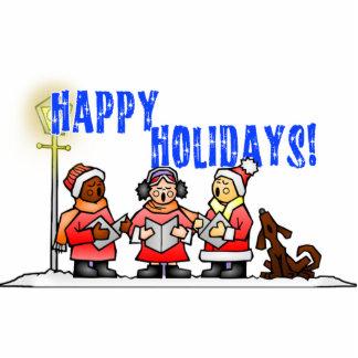 Happy Holidays - Cartoon Carolers Singing Acrylic Cut Out