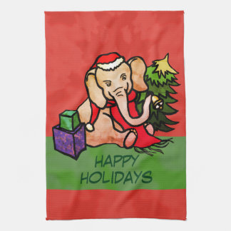 Happy Holidays Cartoon Christmas Santa Elephant Tea Towel