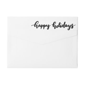 Happy Holidays Casual Handwritten Black Script Wrap Around Label