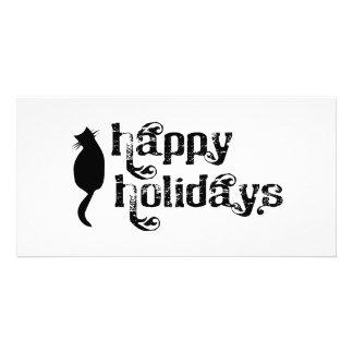 Happy Holidays Cat Silhouette Custom Photo Card