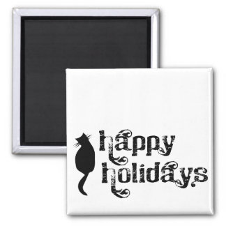 Happy Holidays Cat Silhouette Square Magnet