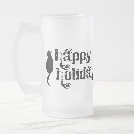 Happy Holidays Cat Silhouette Mug