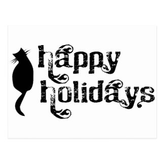 Happy Holidays Cat Silhouette Postcard