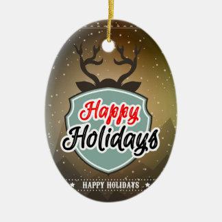 Happy Holidays Ceramic Oval Decoration