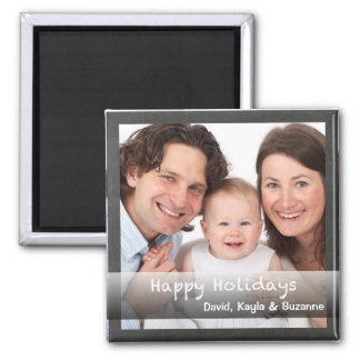 Happy Holidays Chalkboard Personalized with Photo Square Magnet