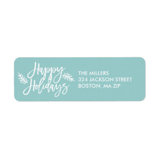 Happy Holidays Chic Hand Lettered Blue Holiday Return Address Label