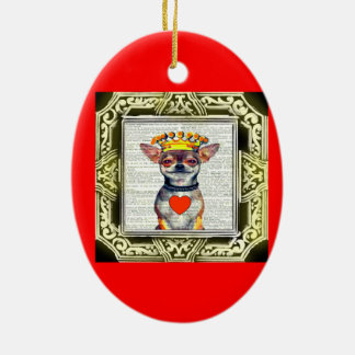 HAPPY HOLIDAYS CHIHUAHUA GREETING ORNAMENT CERAMIC OVAL ORNAMENT