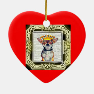HAPPY HOLIDAYS CHIHUAHUA GREETING ORNAMENT CERAMIC HEART ORNAMENT
