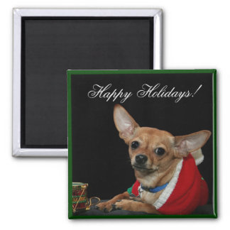 Happy Holidays Chihuahua Square Magnet
