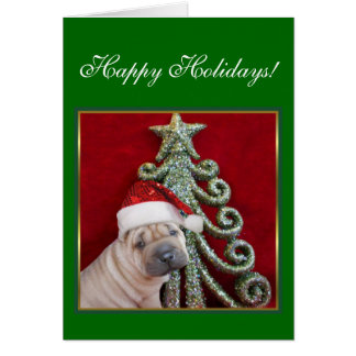 Happy Holidays Chinese shar pei puppy Greeting Card