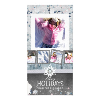 Happy Holidays Christmas 5 Photo Collage Card