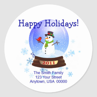 Happy Holidays Christmas Address Labels 2011 Stickers