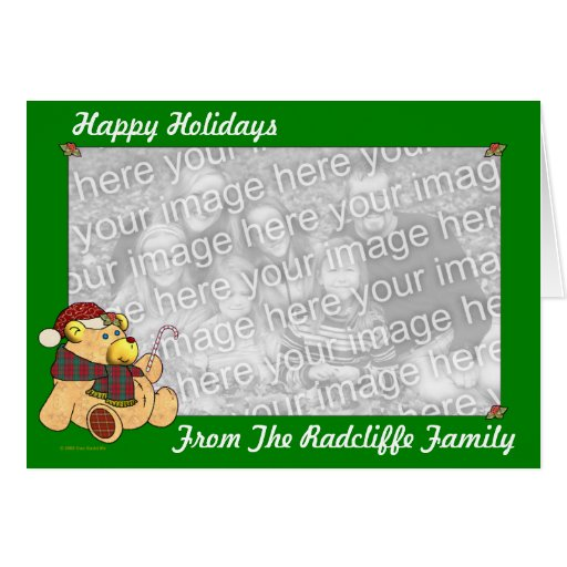 Happy Holidays Christmas Bear Template Greeting Card