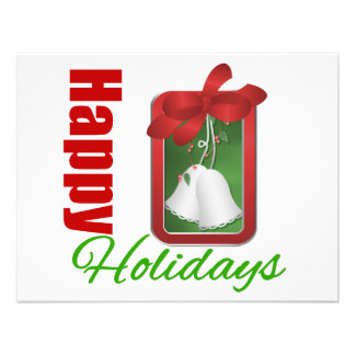 Happy Holidays Christmas Bells Personalized Announcement