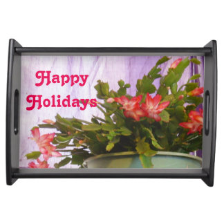 Happy Holidays Christmas Cactus Serving Tray