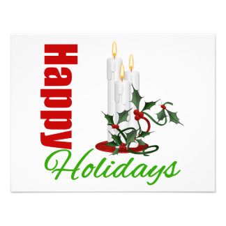 Happy Holidays Christmas Candles Announcement
