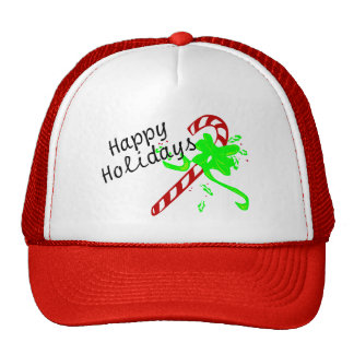 Happy Holidays Christmas Candy Cane Trucker Hats