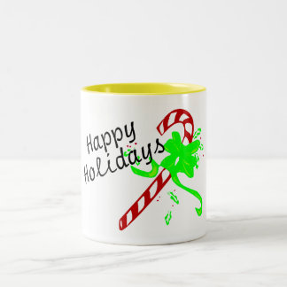 Happy Holidays Christmas Candy Cane Coffee Mug