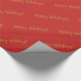 Happy Holidays Christmas Gold Foil and Red Wrapping Paper