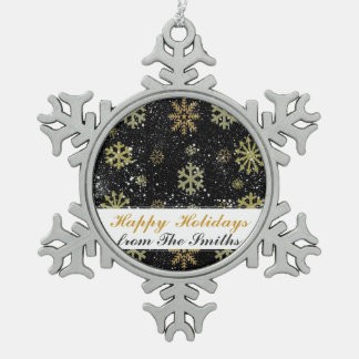 Happy Holidays Christmas Greetings Snowflakes Ornaments