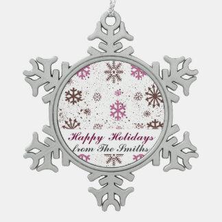 Happy Holidays Christmas Greetings Snowflakes Ornament