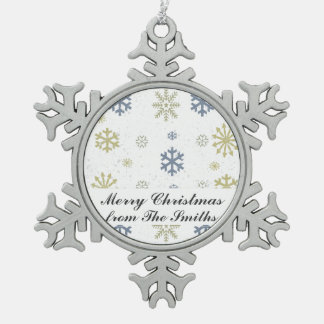 Happy Holidays Christmas Greetings Snowflakes Pewter Snowflake Decoration