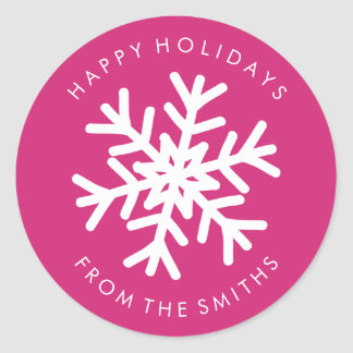 Happy Holidays - Christmas Hot Pink + White Label