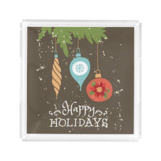 Happy Holidays Christmas Ornaments Decorative Acrylic Tray