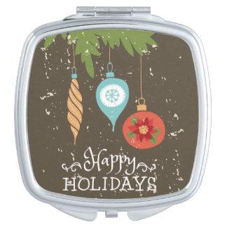 Happy Holidays Christmas Ornaments Decorative Makeup Mirrors
