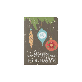 Happy Holidays Christmas Ornaments Decorative Passport Holder