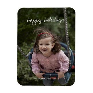 Happy Holidays Christmas Photo Holiday Wishes Rectangular Photo Magnet