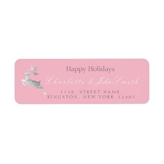 Happy Holidays Christmas Pink Rose Silver Deer1 Return Address Label