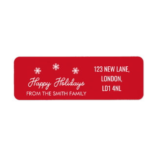 Happy Holidays - Christmas Red and White Label Return Address Label