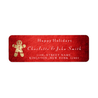Happy Holidays Christmas Red Gold Gincerbread Man Return Address Label
